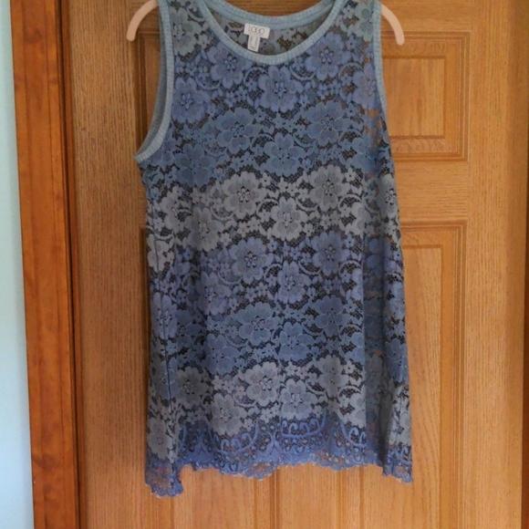 Lori Goldstein sheer lace tunic top